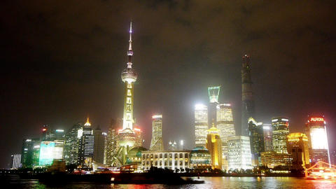 time lapse Shanghai night,Lujiazui financial hub,busy... Stock Video Footage