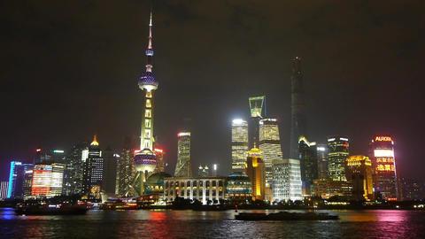 Shanghai at night,Lujiazui financial hub,busy Huangpu... Stock Video Footage