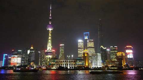 Shanghai at night,Lujiazui financial hub,busy Huangpu River shipping Animation