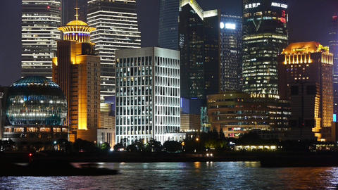 Shanghai bund at night,Lujiazui economic center,busy... Stock Video Footage