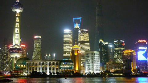 Shanghai bund at night,pudong Lujiazui economic center Stock Video Footage