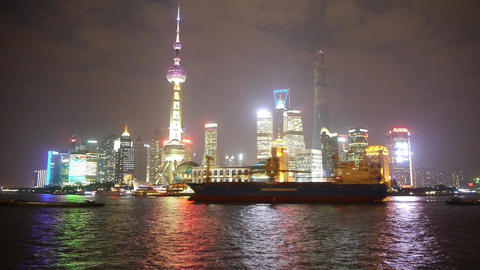 large ship passing Shanghai at night,Pudong Lujiazui... Stock Video Footage