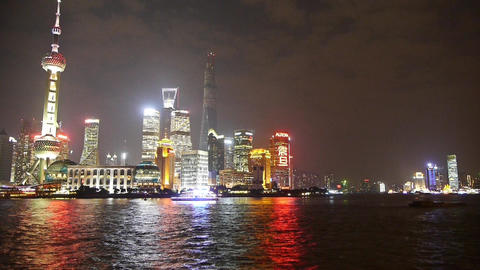 Shanghai at night,Pudong Lujiazui economic center Stock Video Footage