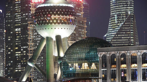 Shanghai night,closeup of pearl-town & Lujiazui... Stock Video Footage