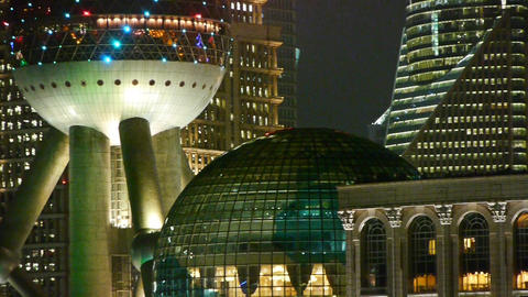 Shanghai night,closeup of pearl-town & pudong... Stock Video Footage
