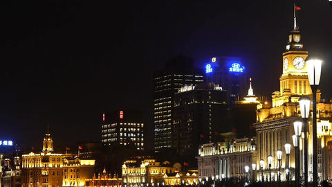 night of Shanghai Bund,huangpu river waterfront & old business building Animation