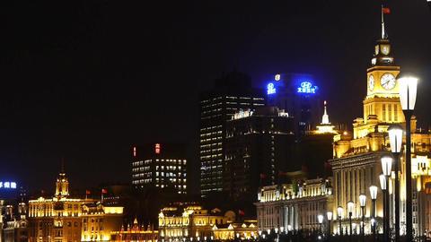 night of Shanghai Bund,huangpu river waterfront & old... Stock Video Footage