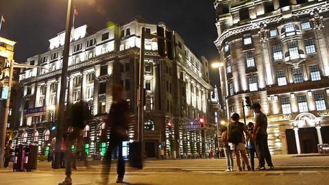 Shanghai bund traffic & crowd silhouette at... Stock Video Footage