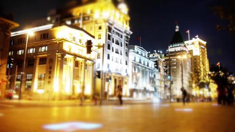 time lapse Shanghai bund traffic at night,blur style... Stock Video Footage