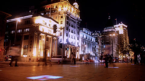 timelapse urban traffic & blur people at... Stock Video Footage