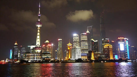 time lapse Shanghai bund at night,Lujiazui business... Stock Video Footage