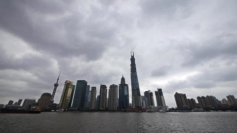 time lapse Shanghai,Lujiazui Financial building,busy... Stock Video Footage