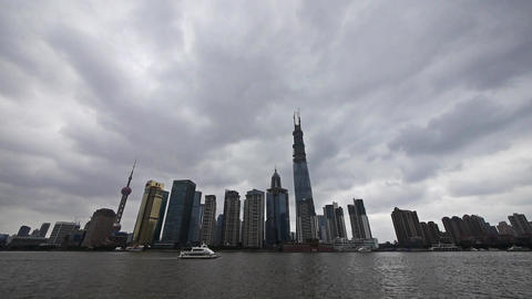 time lapse Shanghai,Lujiazui Financial building,busy Huangpu River shipping Animation