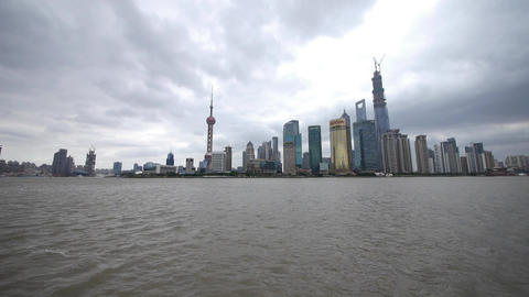 time lapse Shanghai & flying cloud,Lujiazui economic building,huangpu river Animation