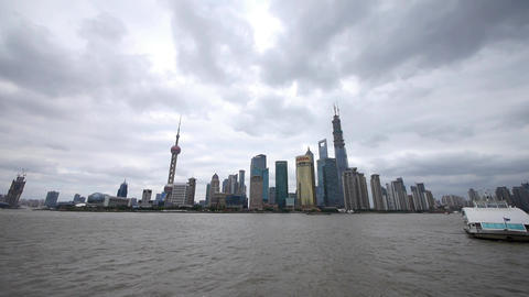 panoramic of Shanghai bund,pudong Lujiazui business... Stock Video Footage