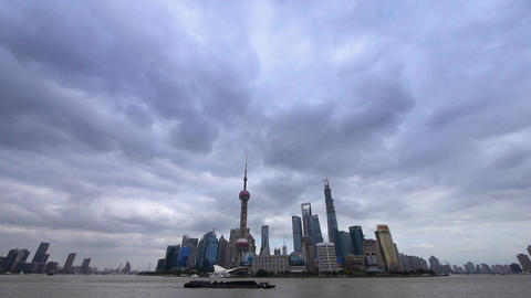 time lapse Shanghai huangpu river & busy... Stock Video Footage