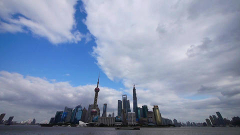 panoramic of Shanghai skyline,pudong Lujiazui financial center & pearl-tower Animation