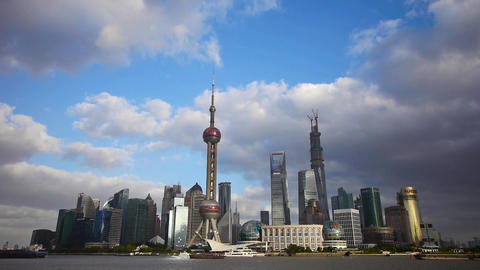 Shanghai skyline,pudong Lujiazui business center & pearl-tower Animation