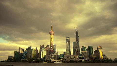 timelapse Shanghai skyline sunset,pudong economic center Stock Video Footage