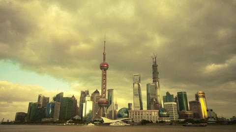 timelapse Shanghai skyline sunset,pudong economic center Animation