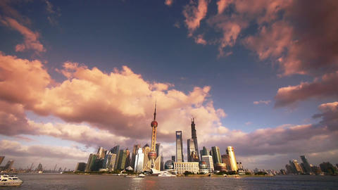 Shanghai skyline sunset glow,world financial Centre & urban building Animation