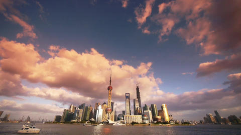 Shanghai skyline sunset glow,world financial Centre &... Stock Video Footage