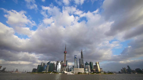 time lapse Shanghai skyline & flying cloud,world... Stock Video Footage