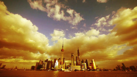 time lapse Shanghai skyline sunset & flying... Stock Video Footage