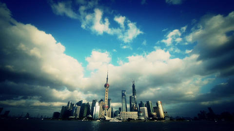 time lapse Shanghai skyline & flying cloud,urban... Stock Video Footage