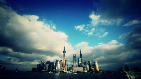 time lapse Shanghai skyline & flying cloud,urban... Stock Video Footage