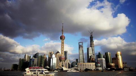 Shanghai skyline & flying cloud,world business Centre... Stock Video Footage