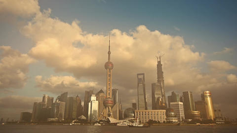 time lapse Shanghai skyline & pollution haze,world... Stock Video Footage