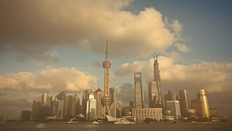 time lapse Shanghai skyline & pollution haze,world financial Centre building Animation