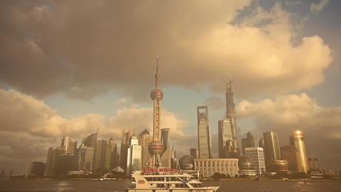 time lapse Shanghai skyline & pollution haze,world... Stock Video Footage