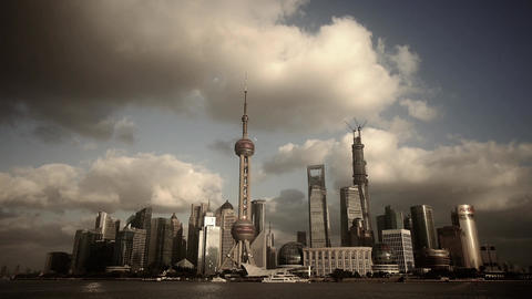 time lapse Shanghai skyline & flying cloud,world urban economic Centre build Animation