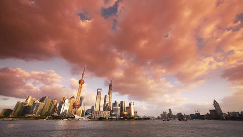 panoramic of Shanghai sunset glow skyline,world urban economic Centre building Animation