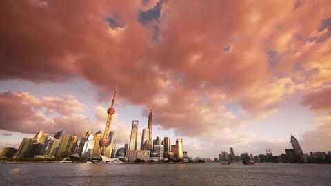 panoramic of Shanghai sunset glow skyline,world urban economic Centre building Animation