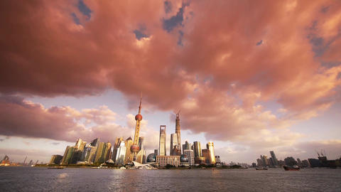 panoramic of Shanghai sunset glow skyline,world urban... Stock Video Footage