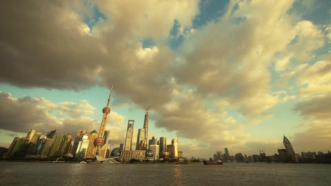 panoramic of Shanghai skyline at dusk,world urban…, Stock Animation