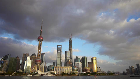 panoramic of Shanghai skyline,world urban business Centre building Animation