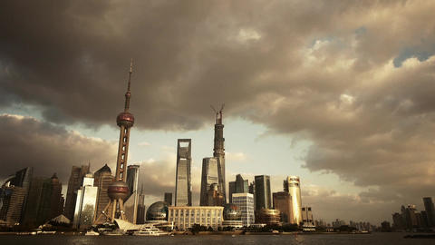 panoramic of Shanghai skyline at dusk,world urban business Centre building Animation