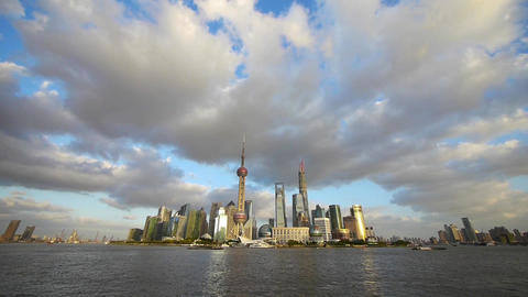 panoramic of Shanghai skyline & Vast sky,world urban financial Centre buildi Animation