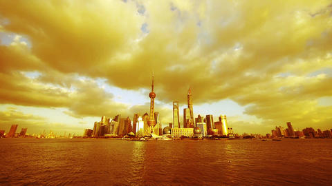 Shanghai skyline at dusk,gold sunlight cover world urban... Stock Video Footage