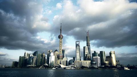 time lapse Shanghai skyline,world urban economic Centre building Animation