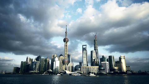 time lapse Shanghai skyline,world urban economic Centre... Stock Video Footage