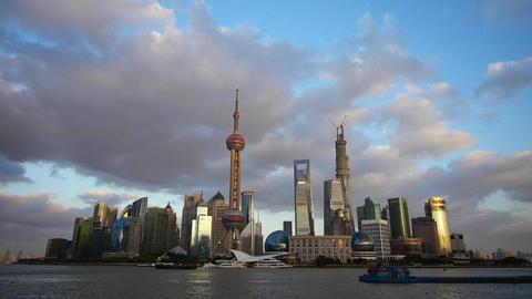 time lapse Shanghai skyline at dusk,world urban economic... Stock Video Footage