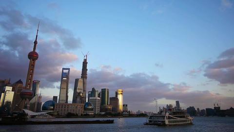 Shanghai skyline at dusk,world urban economic Centre…, Stock Animation