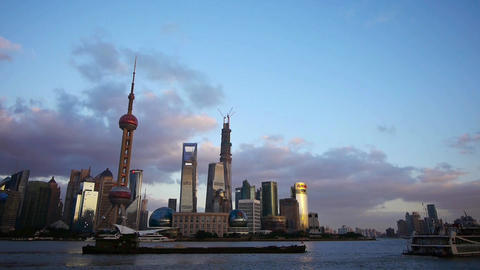 Shanghai skyline at dusk,world urban economic Centre building Animation