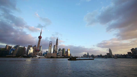 Shanghai skyline & vast sky,world urban business... Stock Video Footage