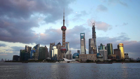 time lapse Shanghai skyline at dusk,world urban economic…, Stock Animation